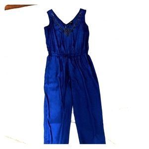 Royal Blue Long Pant Romper